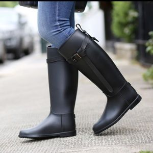 Hermes Burberry Style Riding Equestrian Rain Boots